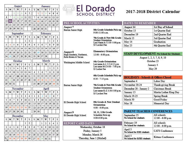 Don't Miss A Thing: 2017-18 School Calendar