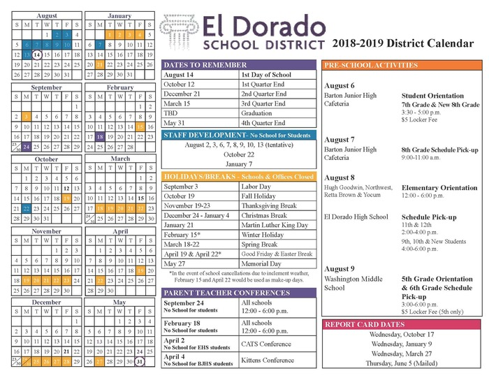 2018-19 School Calendar with Holidays and Dates to Remember