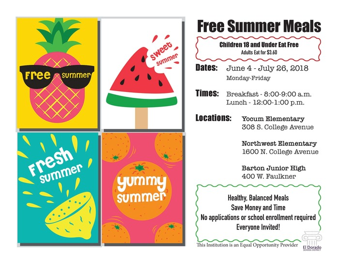 Free summer meal flyer: June 4-July 26; Breakfast @ 8 a.m.; Lunch @12:00 p.m. - Yocum, Northwest and Barton