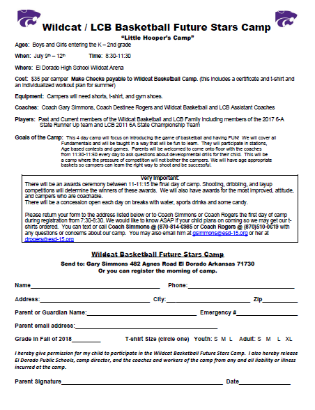 wildcat basketball camp forms
