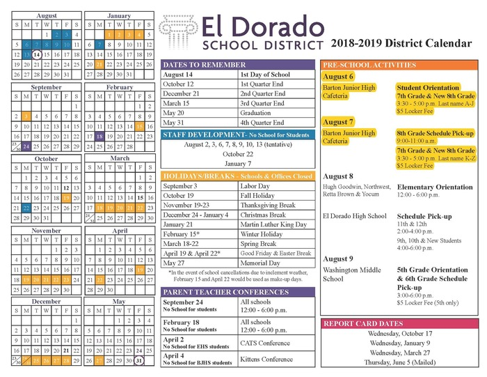 2018-19 District Calendar with updates