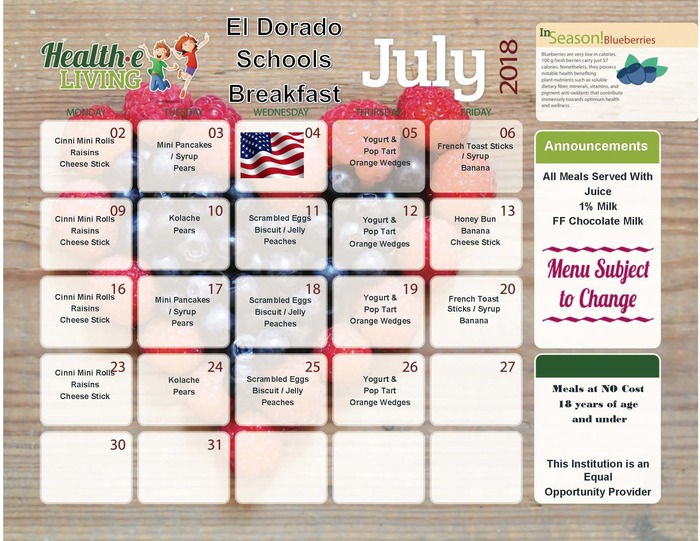 July Breakfast Menu