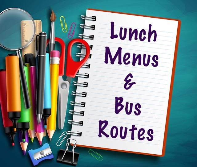 Notepad with Lunch Menus and Bus Routes on it