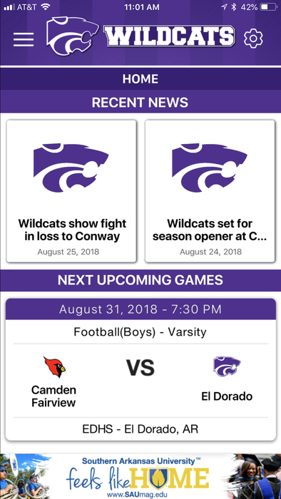 Wildcat sports app image