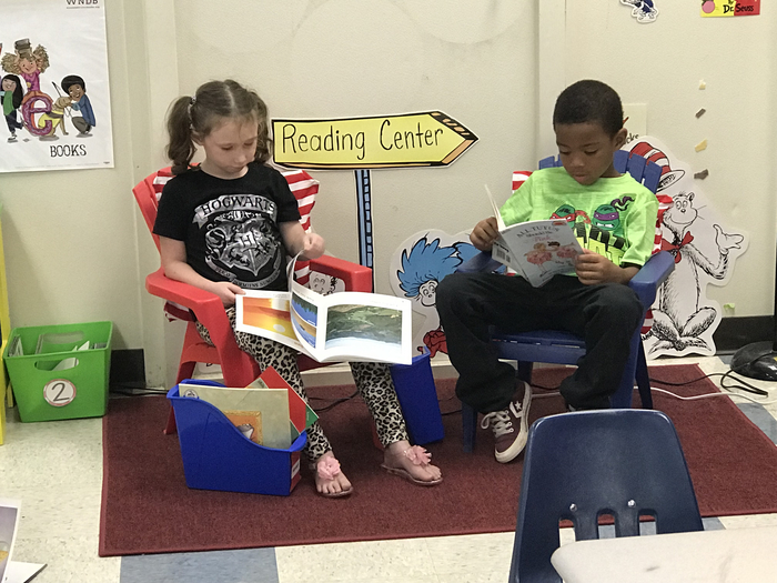 Reading in the reading center.
