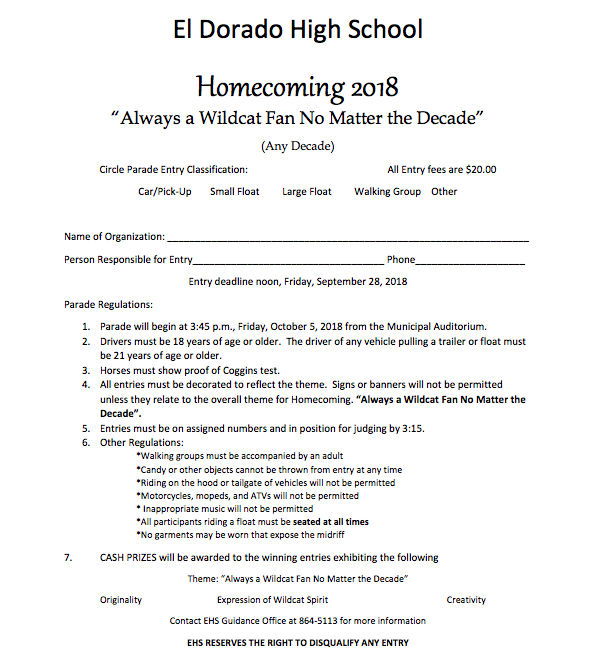 homecoming forms