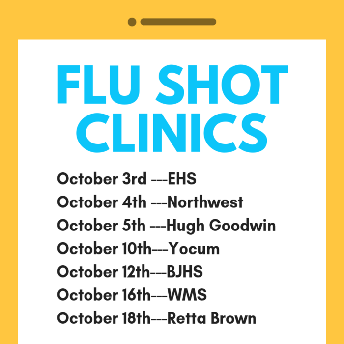 Flu shot clinic dates for each school