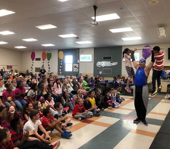 Hugh Goodwin students had an exciting and inspiring visit from Titan with Omegamen & Friends who presented an anti-bullying program while also showcasing his feats of strength.