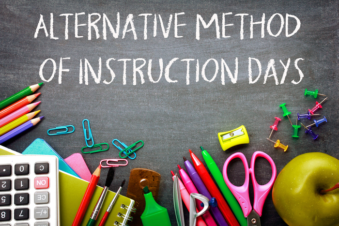 Chalkboard with school supplies: Alternative Method of Instruction Days