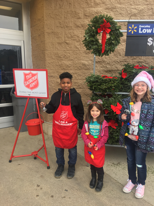 Yocum students ringing the bell in the community today.
