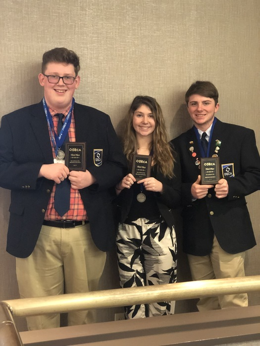 DECA Students Jacob Phillips, Hailey Brady, Addison Martin