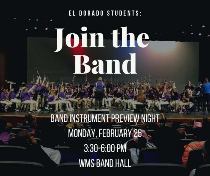 Join the Band - Preview Night February 25 3:30-6:00pm WMS Band Hall