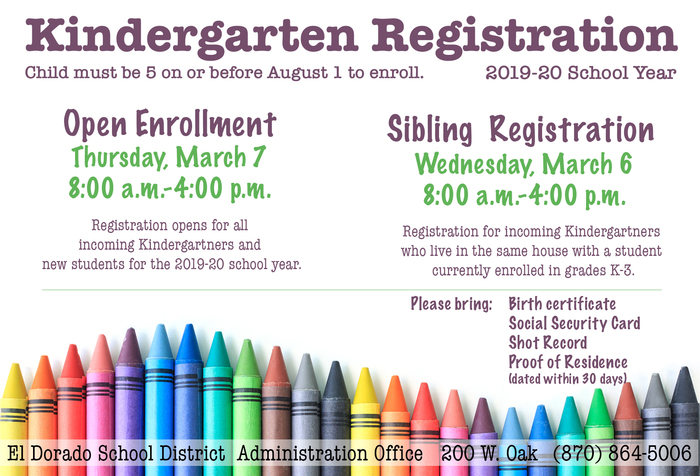 Kindergarten Registration: Open Enrollment 3/7 8:00-4:00; Sibling Registration 3/6 8:00-4:00