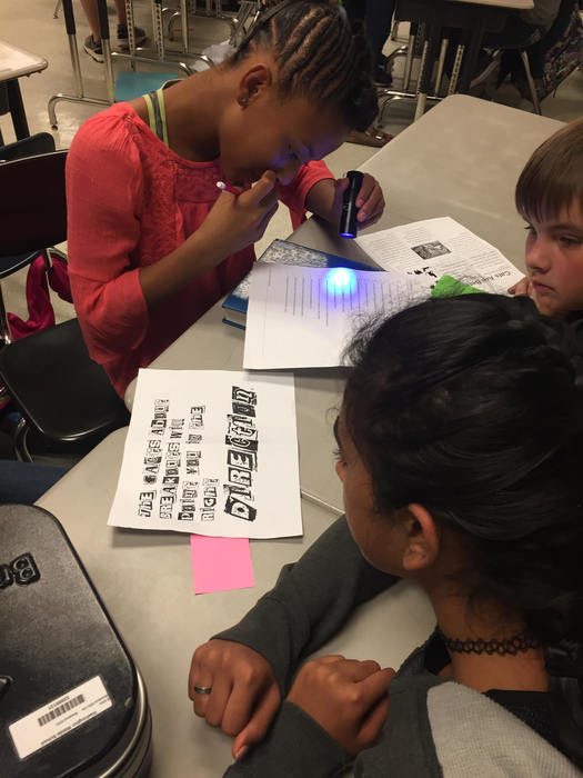 Students participating in a Breakout EDU