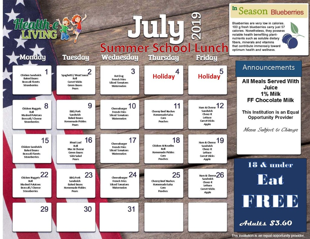 July Lunch Menu