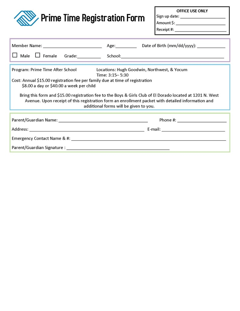 Prime Time Registration form