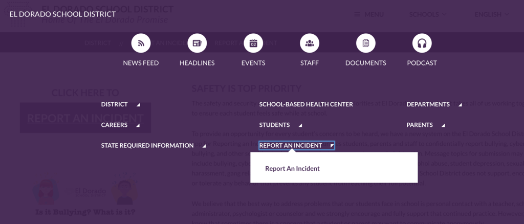 Website Report An Incident menu