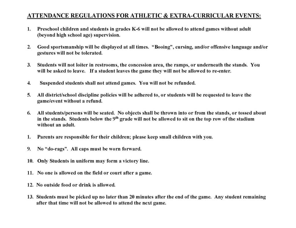 Rules for attending home football games