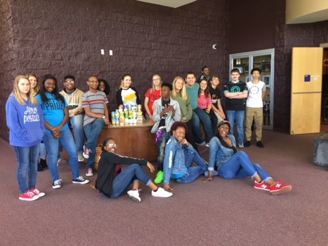 Theater students with the canned goods.