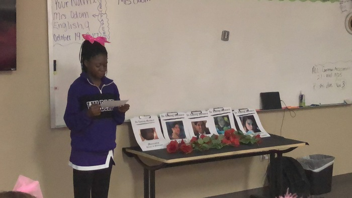 Student reads eulogy for character.