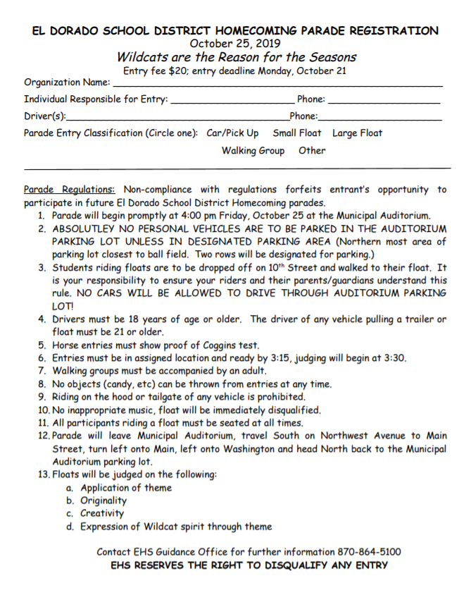 hoco parade form