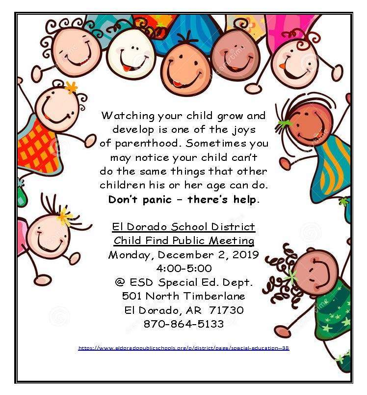 Child Find Public Meeting 12/2 4:00 pm