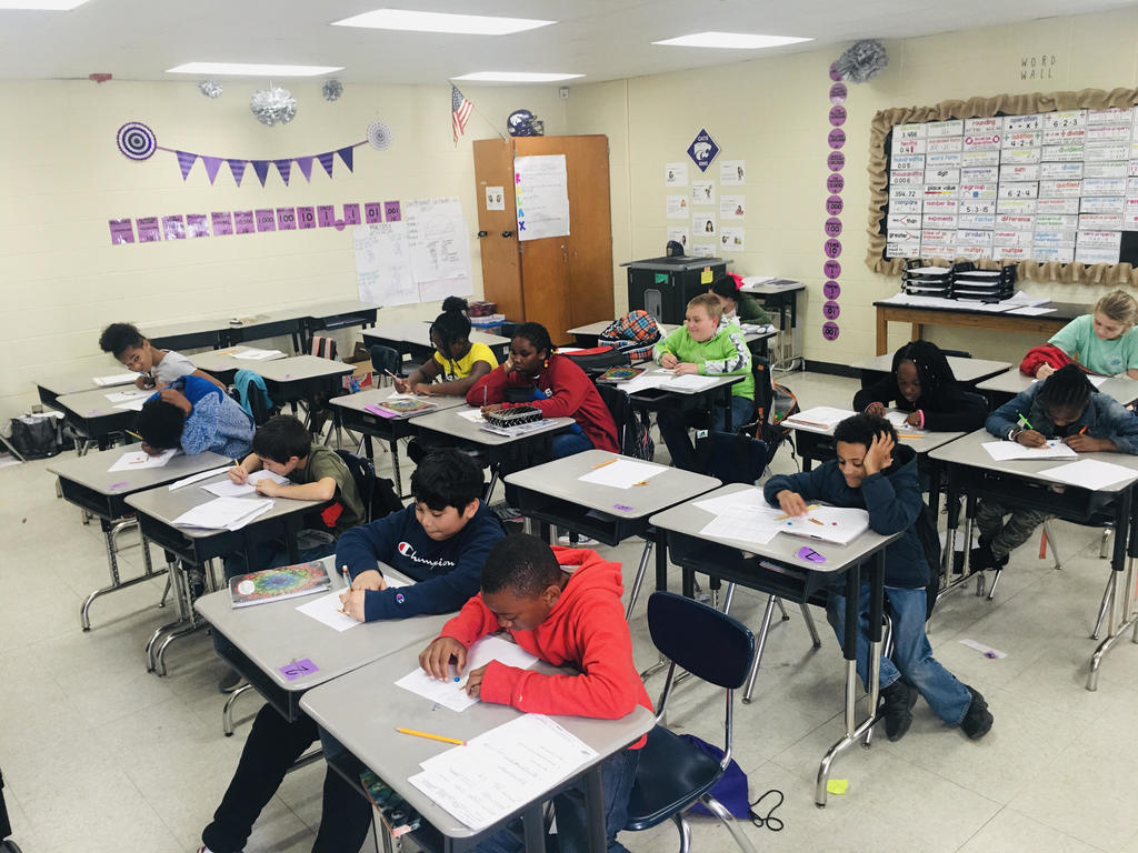 Students working on Math