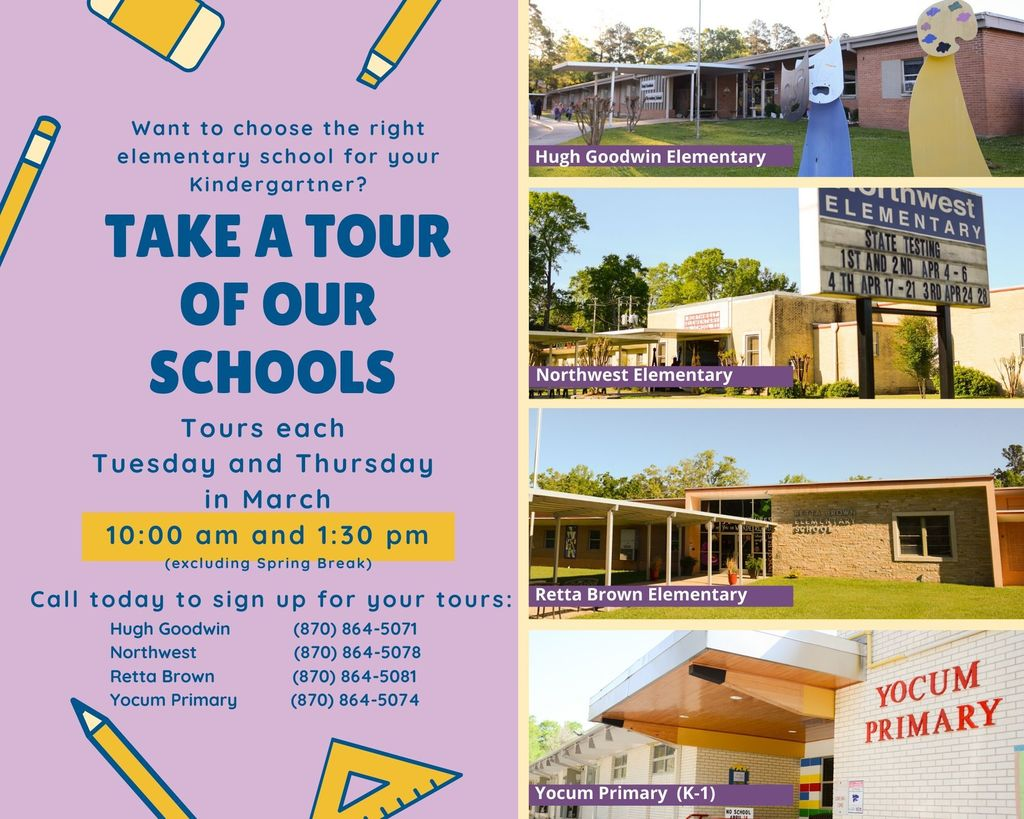 Tour our schools each Tuesday or Thursday in March