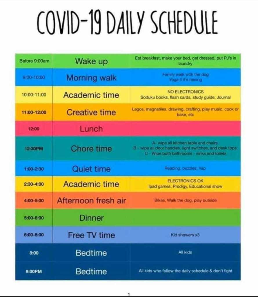 COVID-19 Daily Schedule