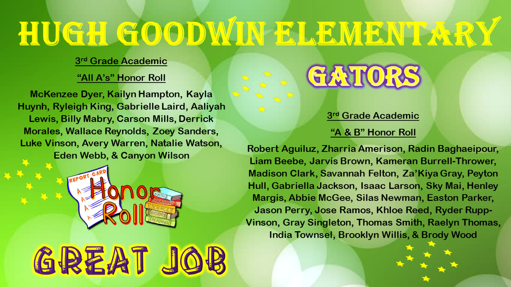 3rd Nine Weeks Honor Roll for 3rd Grade Gators