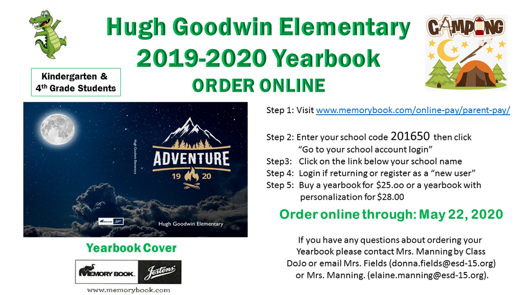 Kindergarten & 4th Grade Yearbook Information